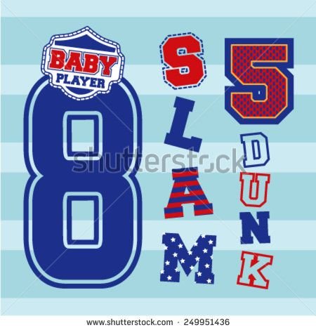 Basketball graphic idea. Textile artworks. Clothing for baby wear - stock vector