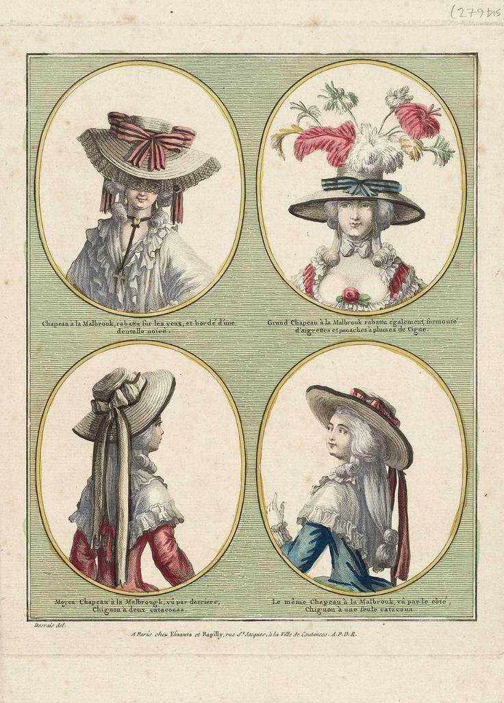 """Gallerie des Modes et Costumes Français. 12e Cahier des coeffures les plus à la mode en 1785. Sans nos. (279bis) """"Chapeau à la Malbrouk..."""""""