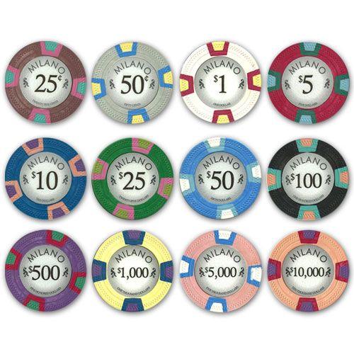Milano 10 gram clay casino quality Poker Chips.