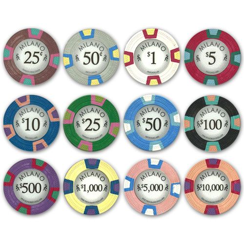 Milano 10 gram clay casino quality Poker Chips.