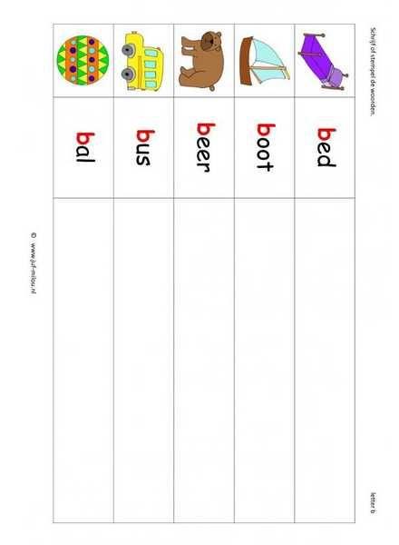 Taal - B woorden stempelen kl 1