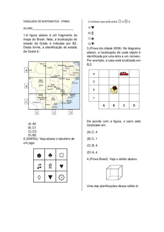Simulado De Matematica 5ºano Aluno 1 A