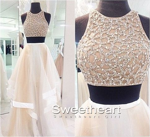 Sequins Tulle Flouncing Long Prom Dresses, Formal Dress #prom #promdress #dress #formaldress #evening