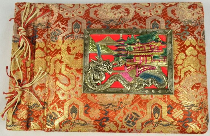 Antique Vintage Asian Photo Album Raised Painted Brass Dragon Buildings