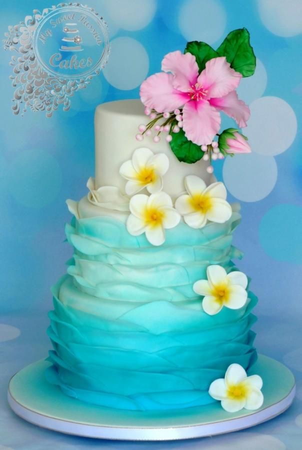Hawaii themed wedding cake by Beata Khoo - http://cakesdecor.com/cakes/252061-hawaii-themed-wedding-cake