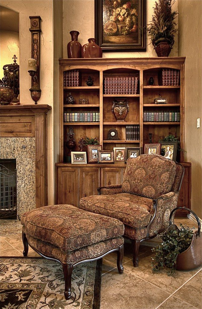 Tuscan bookcase accessorizing ideas