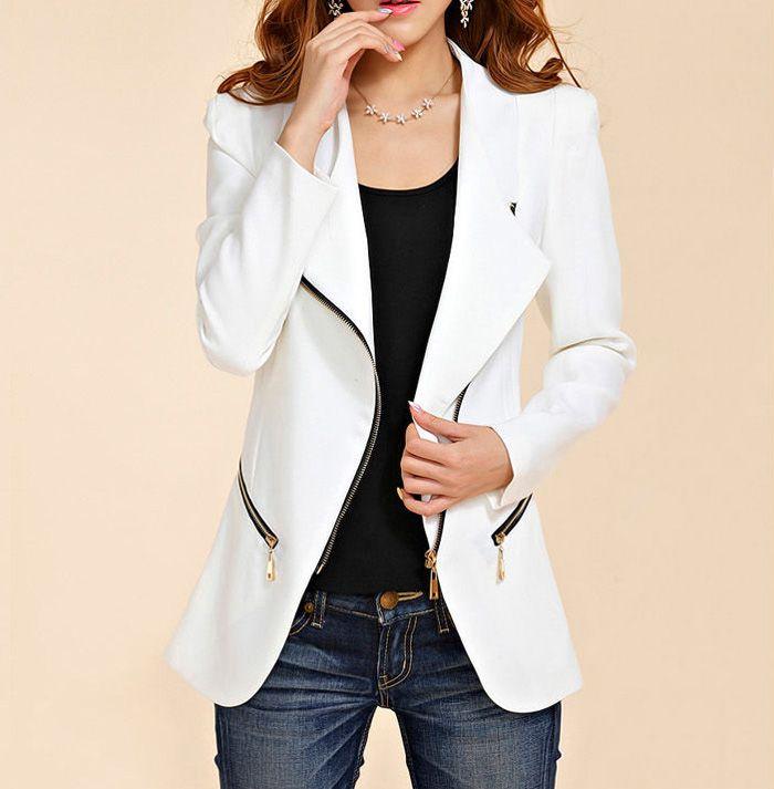 Stylish Turn-Down Collar Solid Color Zip Embellished Long Sleeve Blazer For Women | TwinkleDeals.com