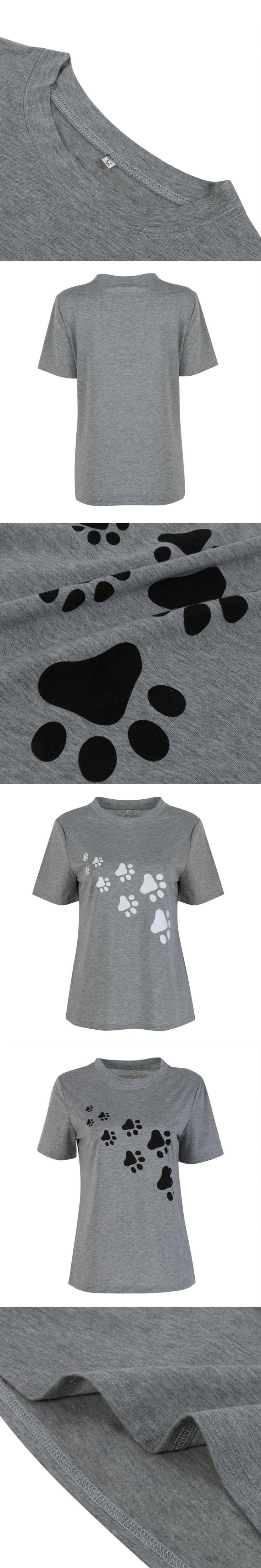 Women Cat Paws Print T Shirt Cotton Casual Funny T Shirt For Lady Tee Hipster gray Tops P2