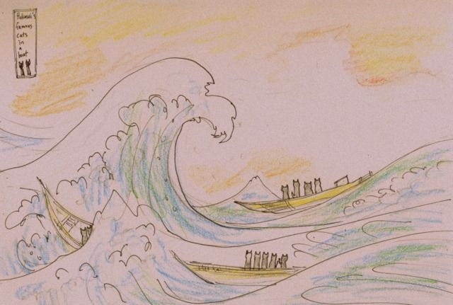 """Cat's wave"", pen and Prismacolor pencil drawing, suggested by Catriona, appropriation of Hokusai's Great Wave, Jenny Jump (c) 2017"