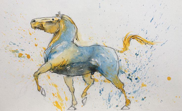 Horse. Watercolor, pen.