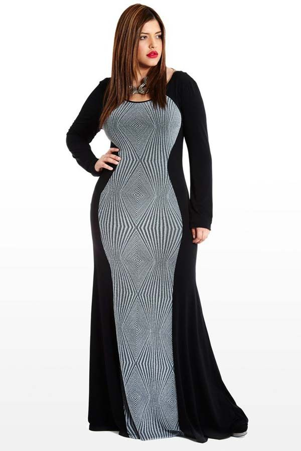 Long Sleeve Maxi Dress Plus Size