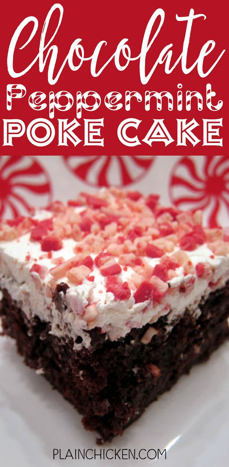 Chocolate Peppermint Poke Cake - AMAZING!!!! Only 6 ingredients - chocolate cake mix, hot fudge sauce, condensed milk, cool whip and peppermint crunch chips. Great for a crowd. Tastes like Christmas! Everyone always asks for the recipe!