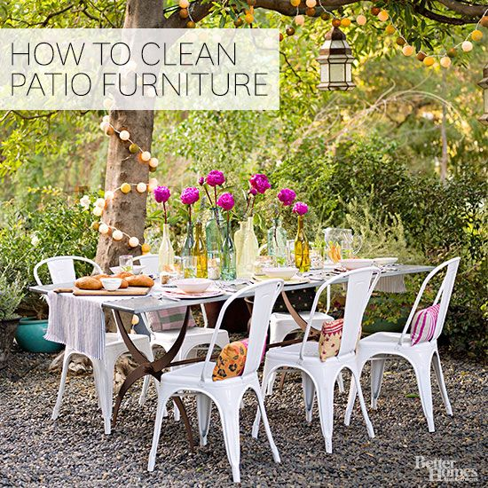 Here's your complete guide to keeping your outdoor furniture looking clean. We'll show you how to clean plastic, wood, glass, and metal furniture that lives on your patio or in your yard. These tips will make cleaning your outside dining tables and chairs super easy. #cleanoutdoorfurniture #outdoorfurniture #cleaningtips #patio #porch