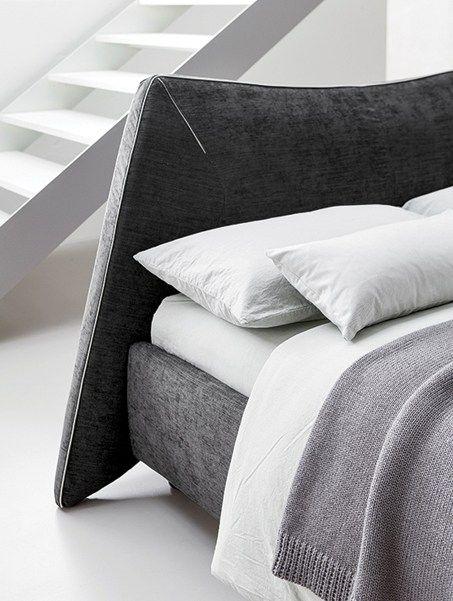 Fabric bed with upholstered headboard NEKO - @dallagnesespa