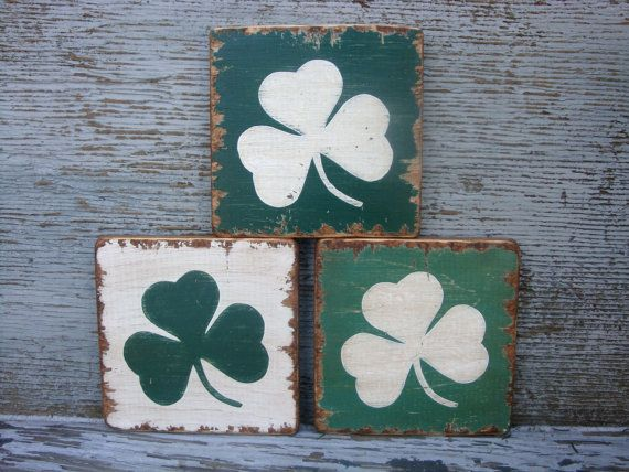 FREE SHIP Rustic Distressed St Patrick's Day Shamrock Clover Wood Sign Set by…