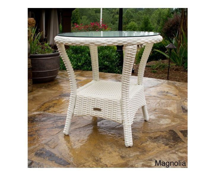 White Wicker Side Table Outdoor Patio All Weather Furniture Tempered Glass Top…