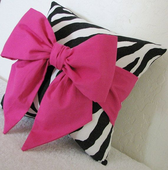 Pink & Black/White Zebra Striped Bow by pillowsbycindee on Etsy, $20.00