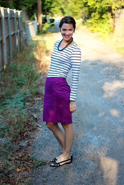 ideas for purple jcrew pencil skirt, but mine doesn't sit this low on me (post baby hips)