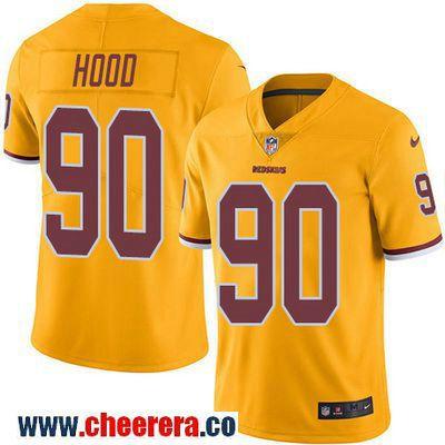 Men's Washington Redskins #90 Ziggy Hood Gold 2016 Color Rush Stitched NFL Nike Limited Jersey