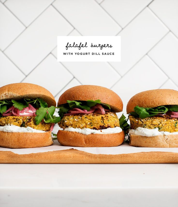 Falafel Burgers with Yogurt Dill Sauce from the cookbook Pretty Simple Cooking by @acouplecooks