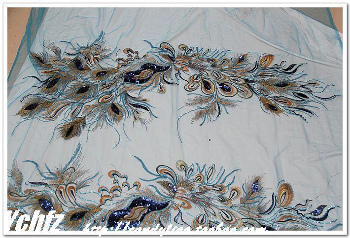Aliexpress.com: Купить Голубой марли вышивка блесток блестка золотой нитью кружева чонсам diy ручной павлин вышивка ткань из Надежный cheongsam фотография поставщиков на CCJY Store