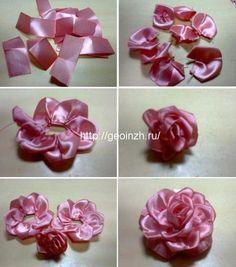 создание розы из узкой ленты