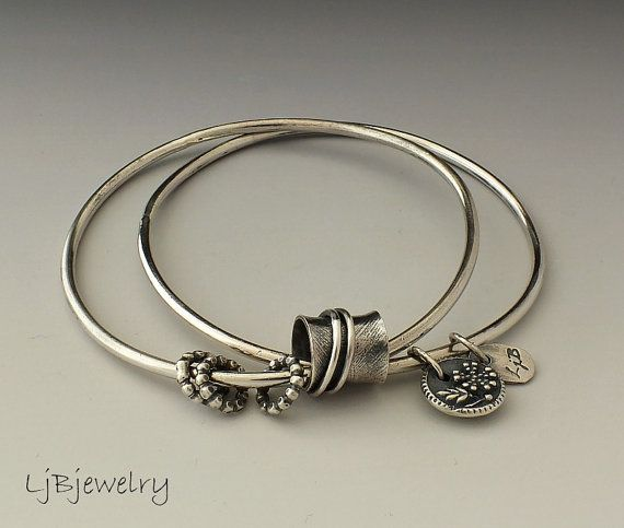 Silver Bangle Stacking Bangle Charm Bracelet by LjBjewelry on Etsy