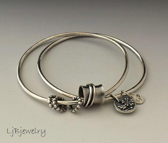 Silver Bangles, Stacking Bangles, Charm Bracelet, Sterling Silver, Double Bangles, Silver Bracelet.