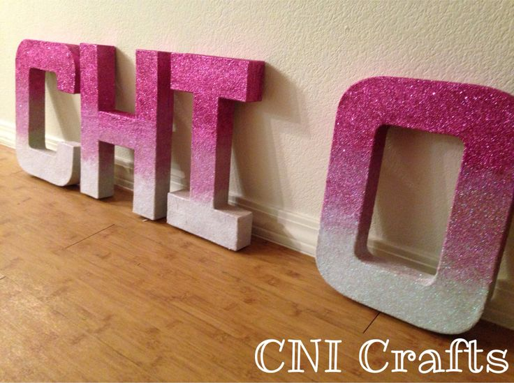 Ombré Glitter Chi Omega Letters Sorority Crafts CNI Crafts