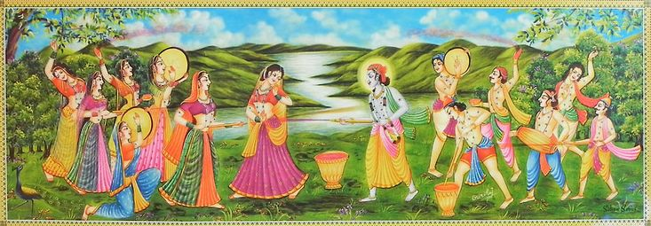 Krishna and Gopis Playing Festival of Color Holi with Radha and Gopinis (Reprint on Paper - Unframed))