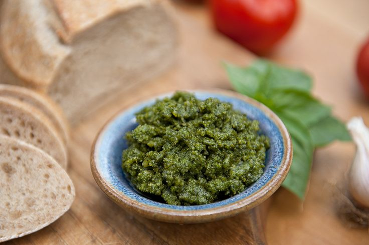 Basil Hempseed Pesto. Hempseeds replace pine nuts (which are $$$ anyway) and are packed with protein, and hempseed oil has the ideal omega 3 to omega 6 ratio. Might as well get your tasty and your healthy on at the same time. :)  (p.s. I add spinach and use garlic scapes instead of garlic when they're in season.)