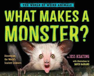 Zoologist and author Jess Keating presents What Makes A Monster?: Discovering the World's Scariest Creatures (The World of Weird Animals series) (Alfred A. Knopf, an imprint of Random House Children's Books, August 8, 2017).  David DeGrand returns with his quirky, humorous illustrations.  If you want to read a book, gasping at every page turn, this is a title you can't miss!
