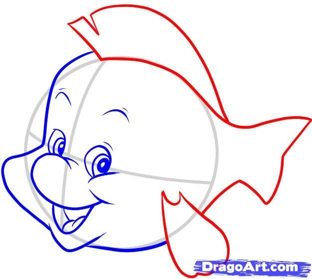 how to draw flounder step 5 how to draw disney