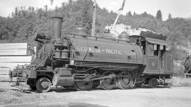 """Georgia-Pacific 2-6-2ST number 9, in it's last days at the Toledo Mill, in Toledo, Oregon, 1960.  Not long after this photo was taken, the locomotive would plunge off of the Wynoochee river bridge, in Washington State, into the river below for the movie """"Ring of Fire"""". It's remains are still there to this day. Read the full story at:  http://www.brian894x4.com/RingofFire.html"""