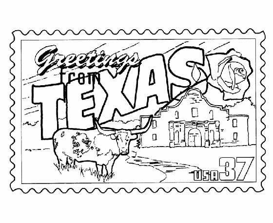 texas state stamp coloring page