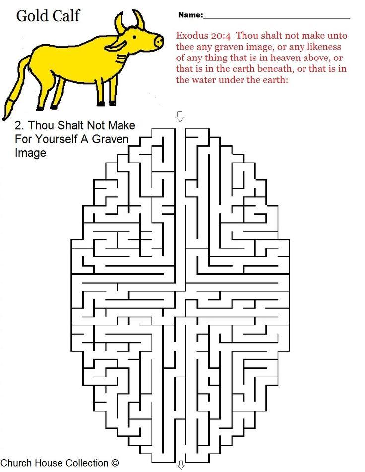 "coloring pages for kids each 10 commandments | Ten Commandments Maze ""Thou shalt not make for yourself a graven image ..."