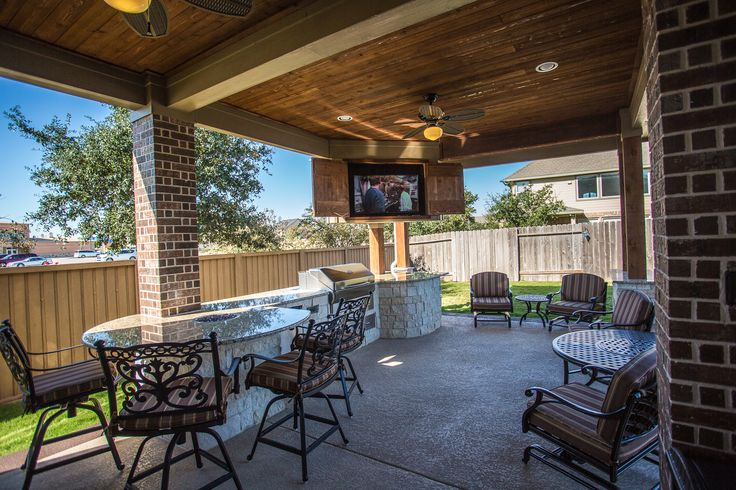 Custom Outdoor Covered Patio Such A Unique Piece! Tongue And Groove  Ceiling, Custom Cabinets To Hide The Outdoor Television, Cozy Patio  Furniture, U2026