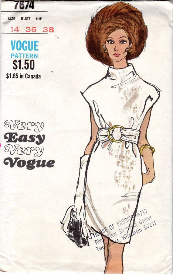 1960s Easy Womens Vogue Dress Pattern - Size 14, Bust 36 - Very Easy Very Vogue 7674 uncut via Etsy
