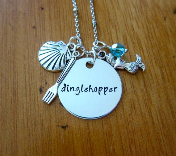 Dinglehopper necklace inspired by Little Mermaid. Little Mermaid Dinglehopper necklace. Ariel Little Mermaid Dinglehopper necklace gift.