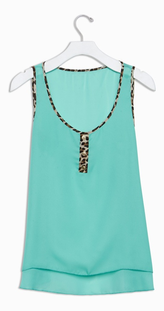 Cute, sheer tank in aqua with leopard trim. Yep, I need this.