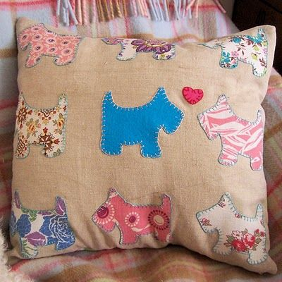 Bustle & Sew Scotty Dog cushion cover. Gorgeous