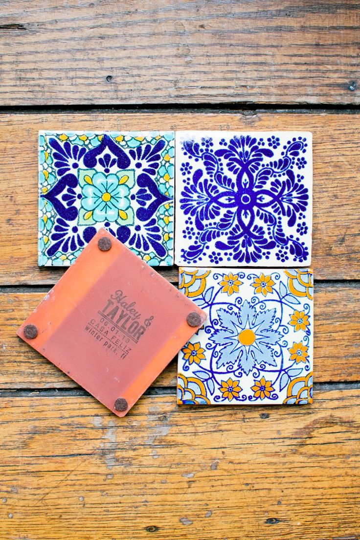 Love these wedding favors- Spanish tile coasters! Photo by http://amalieorrangephotography.com, via http://theeverylastdetail.com/classic-ivory-florida-wedding-southwestern