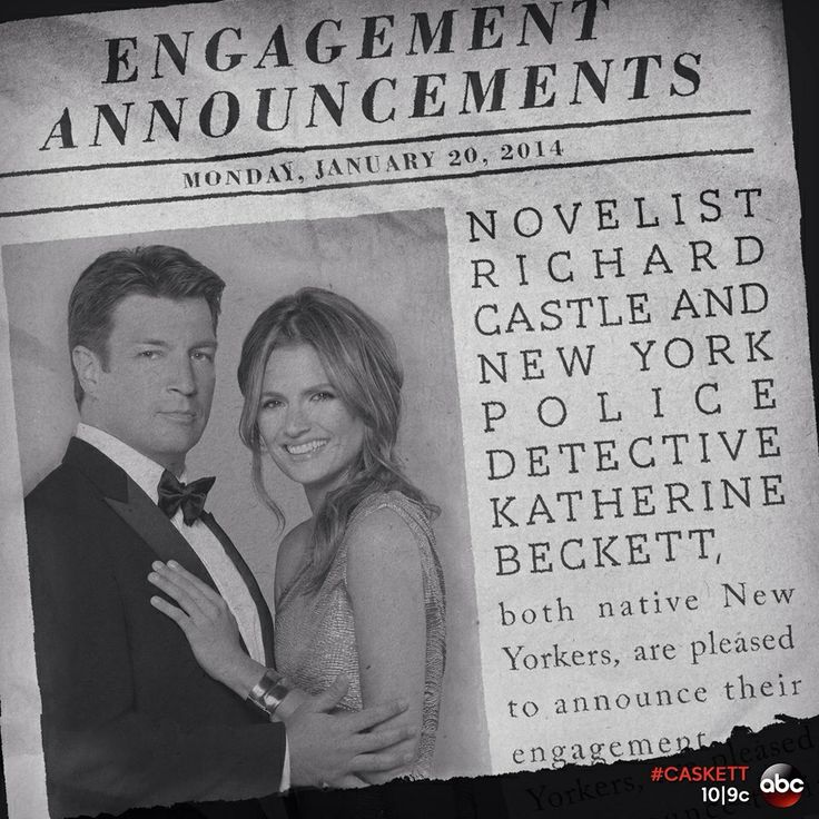 Castle and Beckett's newspaper wedding announcement from the TV show Castle.