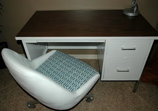 Old grungy black metal desk to cute white desk. I see these old desks all the time.