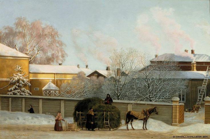 Magnus von Wright (1805-1868) Annankatu kylmänä talviaamuna / Annankatu on a Cold Winter Morning 1868 - Finland - Helsinki - Finnish horse