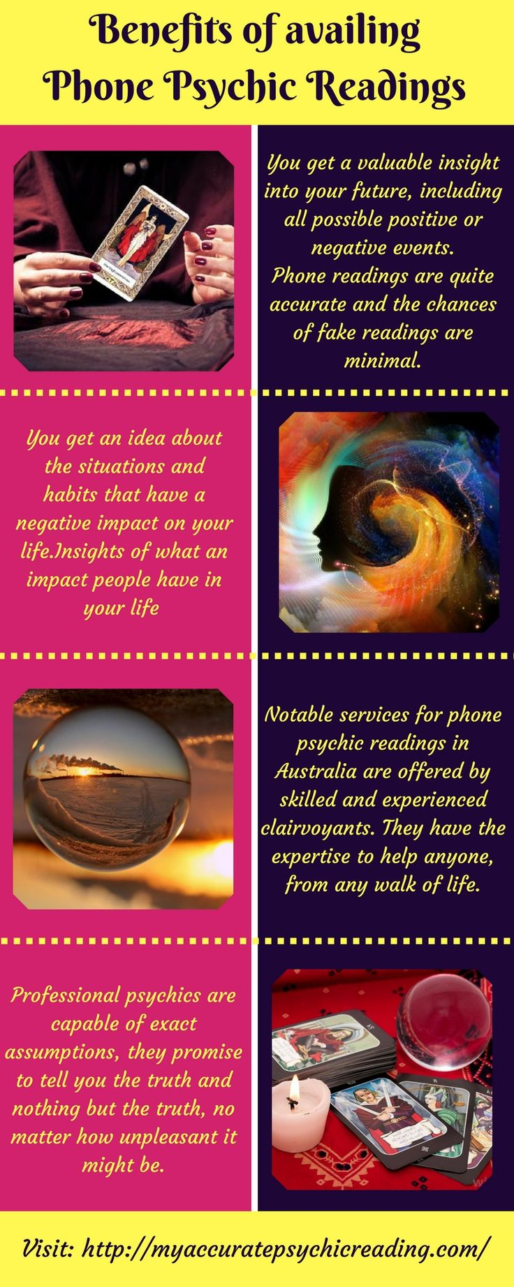 A phone psychic reading helps you in getting a valuable insight of your future, including all possible positive or negative events.