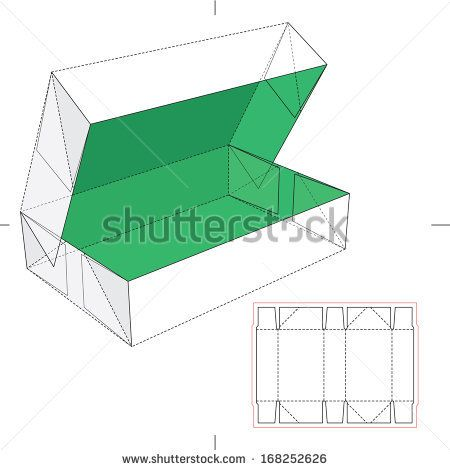 Box with Flip Lid and Blueprint Layout  Stock Vector Illustration: Image ID: 168252626