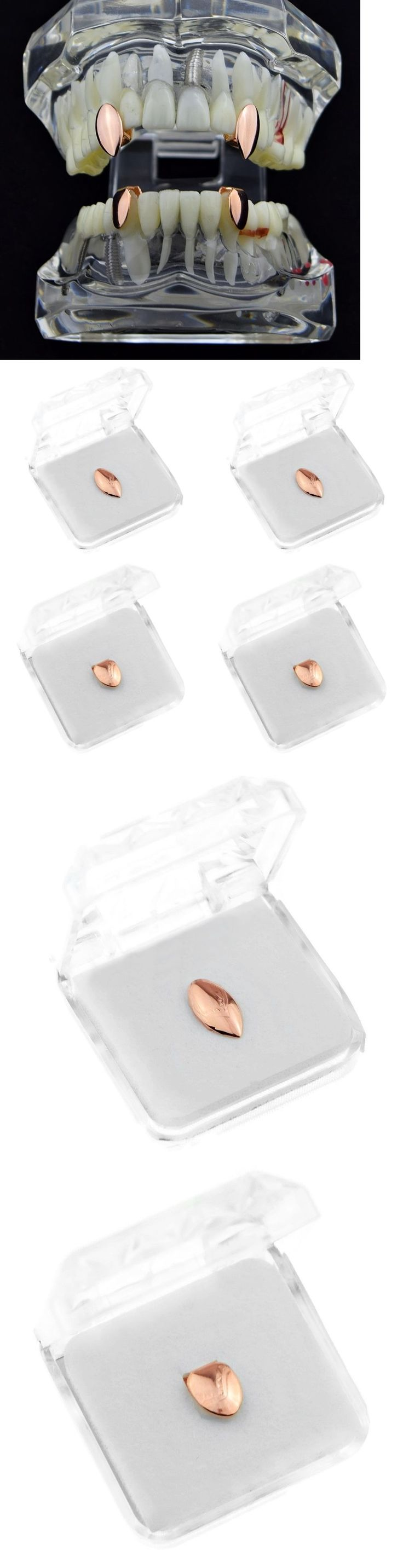 Grillz Dental Grills 152808: Vampire Fang Set Top Fangs And Two Bottom Caps 14K Rose Gold Plated Dracula Teeth BUY IT NOW ONLY: $39.95