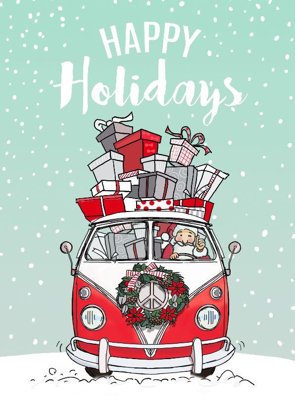 Mooi getekende kerstkaart van VW busje met vredesteken, leuke kerstman met veel cadeautjes in de bus, verkrijgbaar bij #kaartje2go voor € 1,89