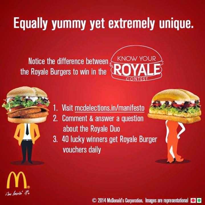 #McDonalds India #answer a simple #question and #win #Royale #Burgers #voucher http://gettopdeals.blogspot.com/2014/05/mcdonalds-india-answer-simple-question.html